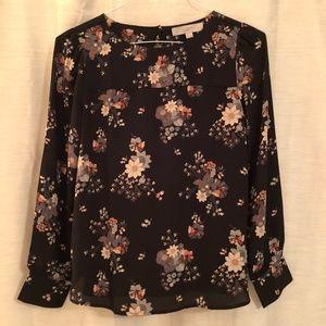 LOFT Button-Back Floral Blouse